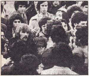 طلاب عرب ويهود يذودون عن اجتماع في جامعة تل أبيب , 1975