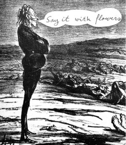 """the cartoon in question — except for the """"say it with flowers"""" balloon — is a well-known lithograph by the French artist Honoré Daumier. It was originally published about a hundred years ago, and had nothing at all to do with Jews or anti-Semitism."""